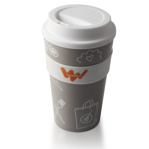 grey disposable plastic coffee mugs