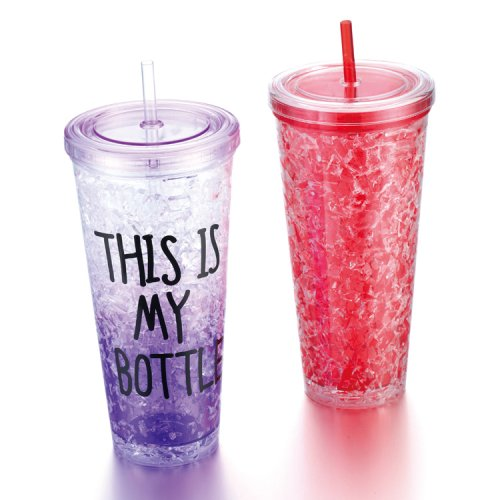 Plastic Double Wall Gel Tumbler With Lid and Straw
