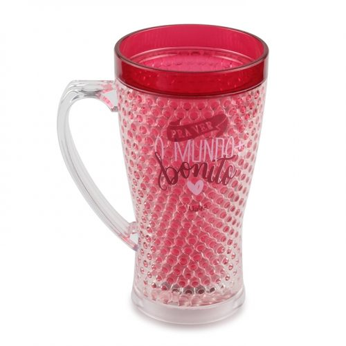 plastic insulated cups gel mug with handle