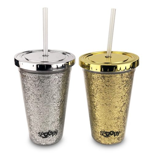 Plastic Tumbler with Diamond Cover and Glitter