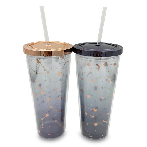 plastic double wall tumbler with glitter