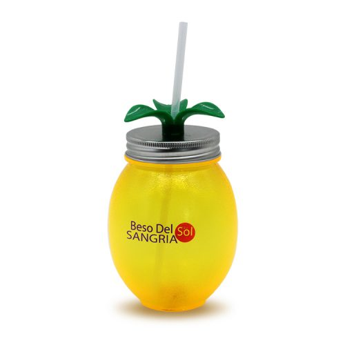Lemon Shape Drinking Cup With Straw