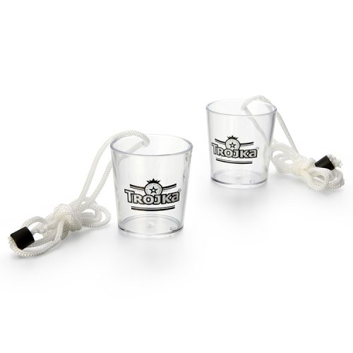 2oz plastic shot glass with landyard