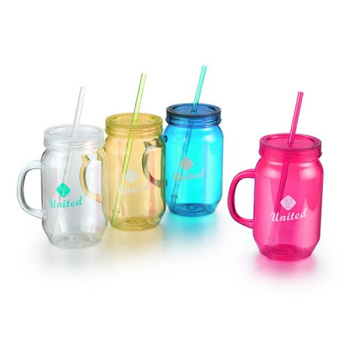 Plastic Mason Jar Mug With Handle