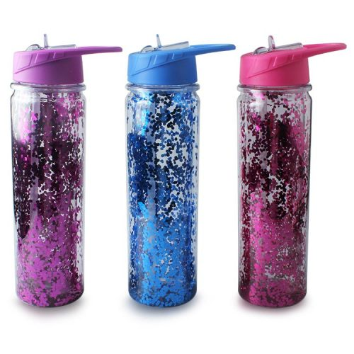 custom glitter water bottle with straw