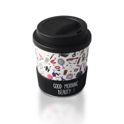 black plastic travel coffee cup