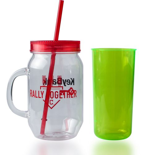 plastic mason jar cup with lid and straw