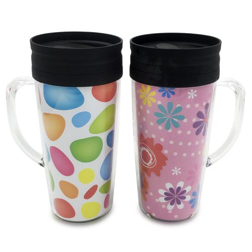 on sale plastic travel coffee mugs with handle and lid