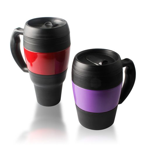 2 sizes plastic insulated coffee mugs with handles