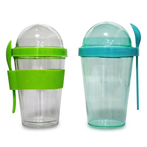 Plastic Tumbler With Snack Container and Spoon