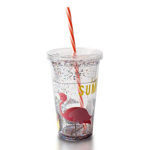 Flamingo Tumbler Tumbler with Glitter and Straw