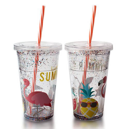 plastic double wall tumbler with glitter and straw (4)